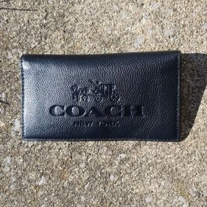 Coach black leather checkbook horse and carriage